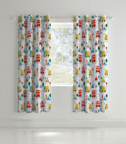 Catherine Lansfield Transport Bright Eyelet Curtains